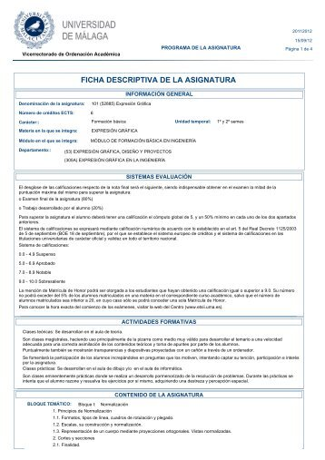 FICHA DESCRIPTIVA DE LA ASIGNATURA