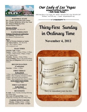 Thirty-First Sunday in Ordinary Time - Diocese of Las Vegas