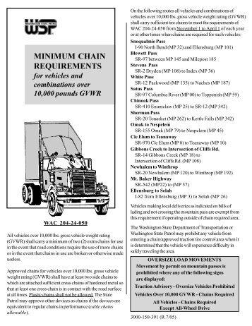 Chaining Requirements - Washington State Patrol