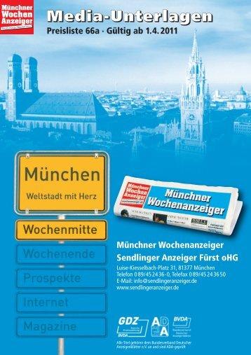 Preisliste Nr. 66 2011 Mittwoch SEN - Wochenanzeiger München
