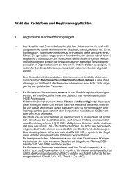 Wahl der Rechtsform und Registrierungspflichten