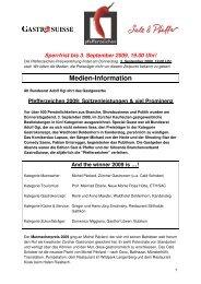 Pfefferzeichen 2009: Spitzenleistungen und viel ... - GastroSuisse
