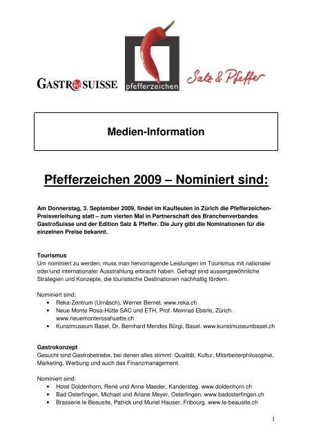 Pfefferzeichen 2009: die Nominierten - GastroSuisse