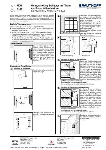 Stahlzarge türblatt  11.1a Montageanleitung Stahlzarge mit Türblatt zum ... - Grauthoff