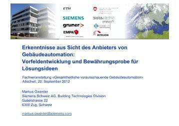 Erkenntnisse aus Sicht des Anbieters von Gebäudeautomation ...