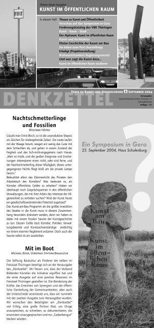 Denkzettel #2 als PDF - Verband Bildender Künstler Thüringens e.V.