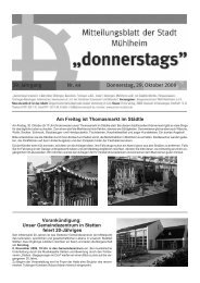 39. Jahrgang Nr. 44 Donnerstag, 29. Oktober 2009 - Mühlheim an ...