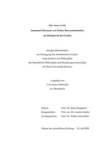 Das innere Licht : Immanuel Hermann von Fichtes - Ruhr-Universität ...