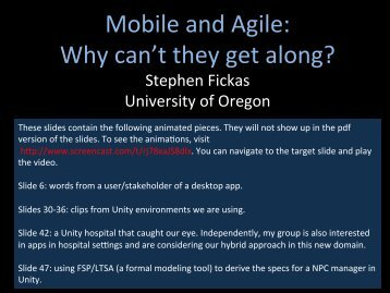 Mobile and Agile: Why can't they get along? - University of Oregon