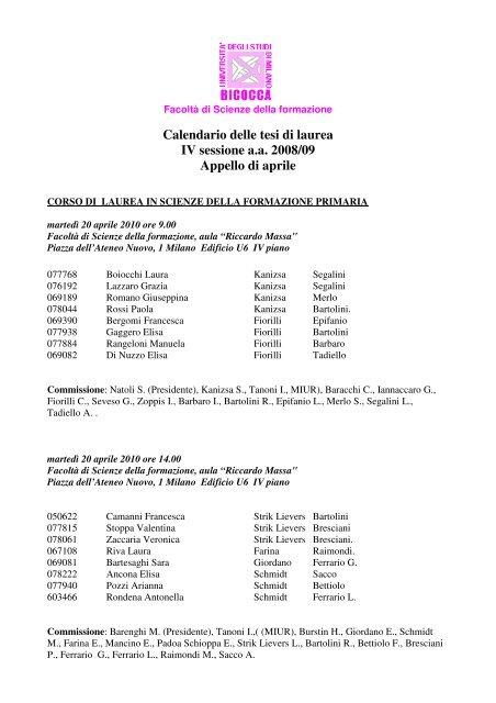 Calendario Bicocca.Calendario Delle Tesi Di Laurea Iv Sessione Aa Scienze