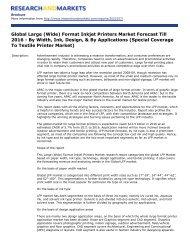 Global Large (Wide) Format Inkjet Printers Market Forecast Till 2016 ...
