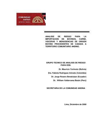 analisis de riesgo para la importacion de bovinos - Senasa