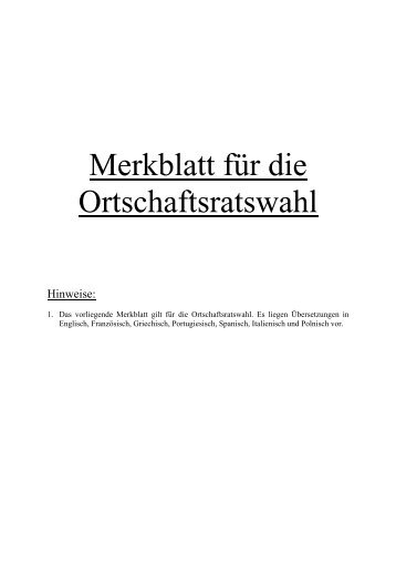 Merkblatt für die Ortschaftsratswahl - Mühlhausen im Kraichgau