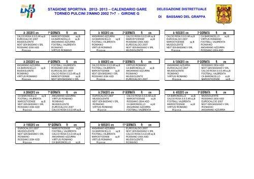 Calendario Veneto.Com Uff 44 13 Ddb Calendario Pulcini Figc Veneto