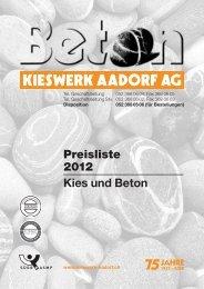 Materialpreise ab Werk 2012 - Kieswerk Aadorf AG