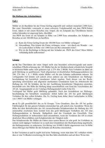 Arbeitsrecht im Grundstudium Claudia Rühs SoSe 2007 1 Die ...