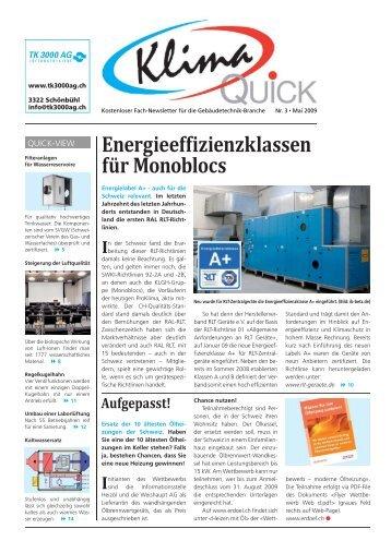 Energieeffizienzklassen für Monoblocs - Proklima