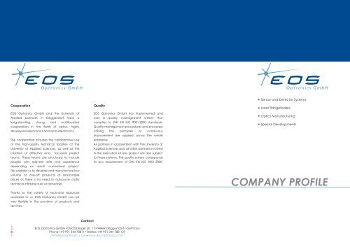 Company Profile EOS Optronics GmbH (PDF) - english