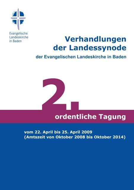 Protokoll der Frühjahrstagung 2009 - Evangelische Landeskirche in ...