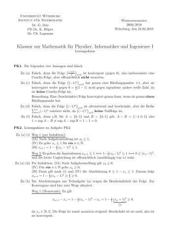 Klausur zur Mathematik für Physiker, Informatiker und Ingenieure I