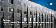 Einladung Tag der Fakultät – 10 Jahre TUM School of Management