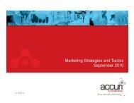 Marketing Strategies and Tactics September 2010