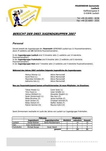 bericht der drei jugendgruppen 2007 - FEUERWEHR Gemeinde ...