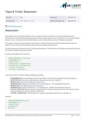 Tipps & Tricks: Sequenzen Sequenzen - MuniqSoft.de