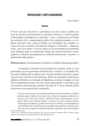 BRASILIDADE E ANTI-HUMANISMO