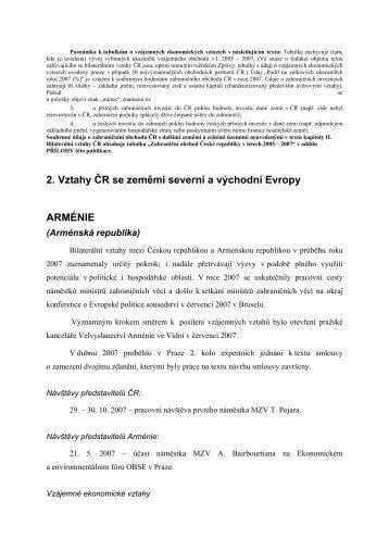 2. Vztahy ČR se zeměmi severní a východní Evropy ARMÉNIE