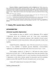 7. Vztahy ČR k zemím Asie a Pacifiku AFGHÁNISTÁN - MZV ČR