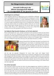 Der Bürgermeister informiert - Gemeinde Nalbach