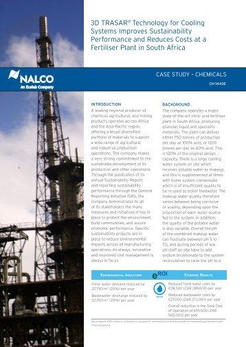 3D TRASAR® Technology for Cooling Systems Improves ... - Nalco