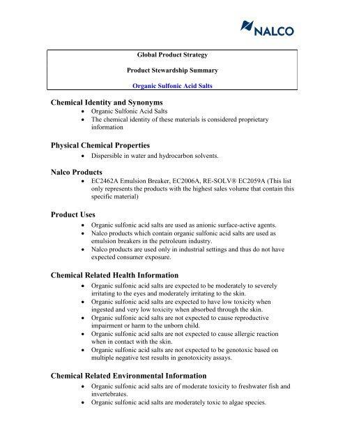 Organic Sulfonic Acid Salts - Nalco
