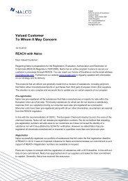 REACH Customer Letter - Nalco
