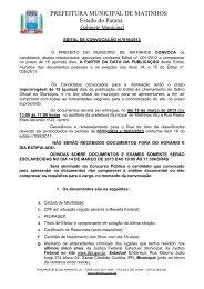 PREFEITURA MUNICIPAL DE MATINHOS Estado do Paraná