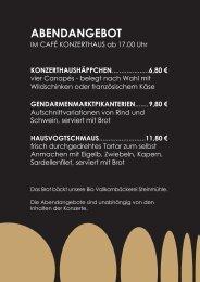 Abendangebot Café Konzerthaus - Mosaik Berlin