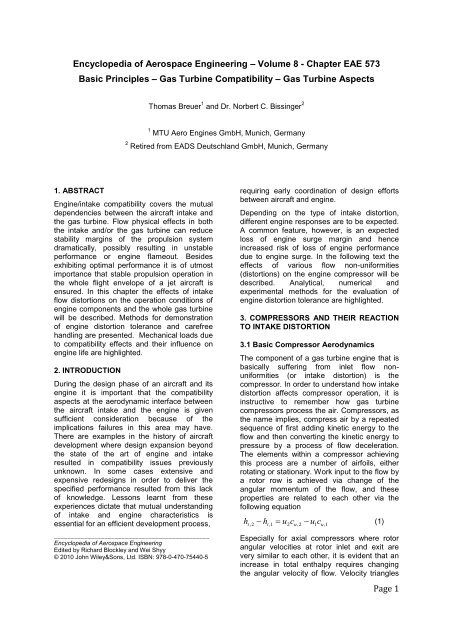 Basic Principles - Gas Turbine Compatibility - MTU Aero Engines