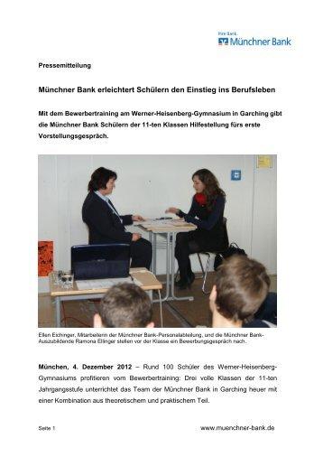 Münchner Bank erleichtert Schülern den Einstieg ins Berufsleben