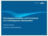 Schutzgasschweißen und Formieren von hochlegierten Werkstoffen