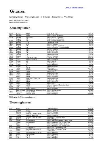 E-Gitarren - Musik Bertram