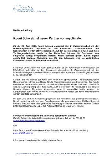 Kuoni Schweiz ist neuer Partner von myclimate