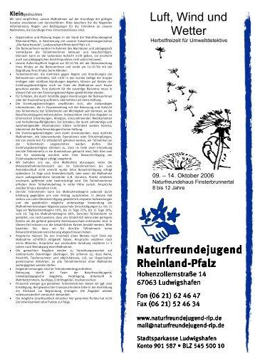 Luft, Wind und Wetter - Naturfreundejugend Rheinland-Pfalz