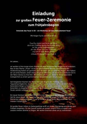 Einladung zur großen Feuer-Zeremonie zum Frühjahrsbeginn