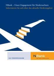 Unser Engagement für Niedersachsen Informieren Sie - bei der NBank
