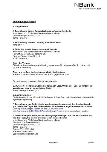 Bekanntmachung A Vergabestelle 1 Bezeichnung Bei Der Nbank