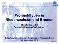 Wohnstiltypen in Niedersachsen und Bremen (1.24 - bei der NBank