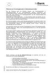 FAQ-Liste zum Technologietransfer in ... - bei der NBank