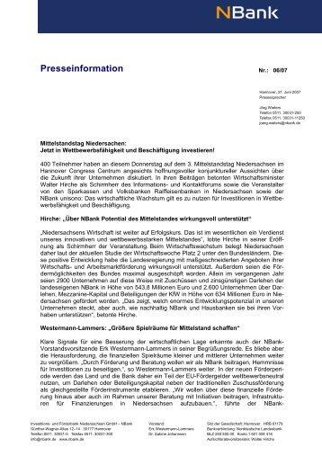 Presseinformation - bei der NBank