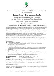Seminar Sensorik Nürnberg - BNN Herstellung und Handel eV